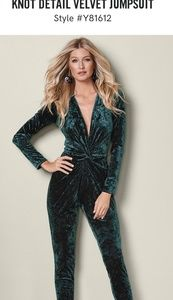 VENUS Hunter Green Velvet Jumpsuit